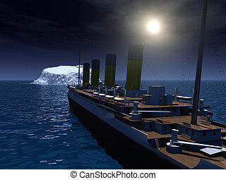 Computer generated 3D illustration with Titanic and Iceberg