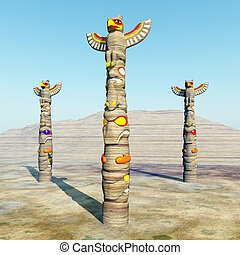 Totem Poles - Computer generated 3D illustration with Totem...