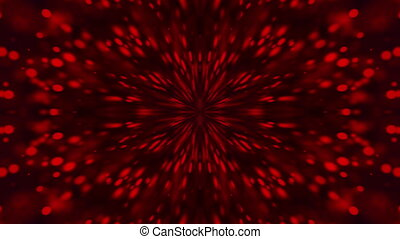 Computer generated a kaleidoscope of red particles flying from the center on a dark background, 3d render