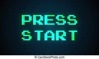 Computer generated a text message screen: Press start. 3d ...