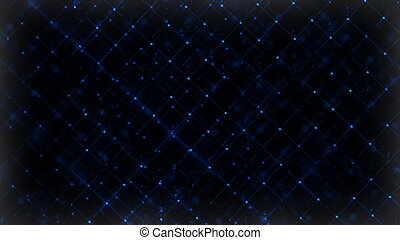 Computer generated abstract digital technology background. 3D rendering a grid of connected flickering particles