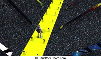 Computer generated an abstract composition in outer space. The astronaut is walking along a narrow yellow path. 3d rendering of a futuristic background