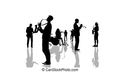 Computer generated animation with musician people silhouettes moving towards the camera. Seamlessly loopable animation