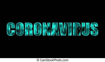 Computer generated background with burning banner Coronavirus. 3d rendering of a fiery text frame