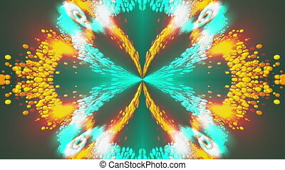 Computer generated beautiful abstract background from spots and splashes. Kaleidoscope converts colors into a flower image, 3D rendering