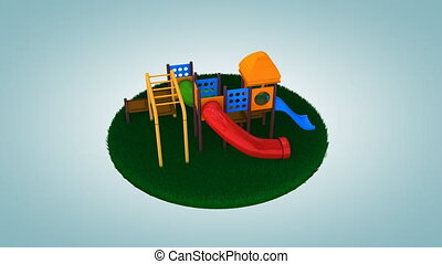 """Children playground on cut out grass. - """"Computer generated..."""