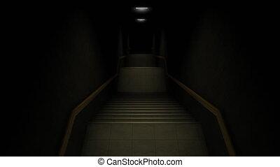 """""""Computer generated, dark stairways."""""""