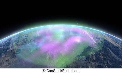 """Earth pole aurora phenomena. - """"Computer generated, Earth ..."""