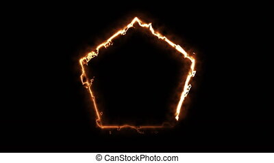 Computer generated fire polygon on black background. 3d rendering of abstract fire circle
