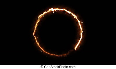Computer generated fire ring on black background. 3d rendering of abstract fire circle
