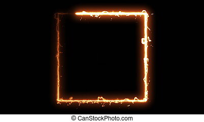 Computer generated fire square on black background. 3d rendering of abstract fire circle
