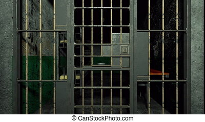Computer generated grim prison interior through bars 3d rendering background