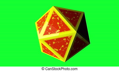 Computer generated icosahedron, 3d rendering of platonic with yellow edges and an orange center on a black backdrop