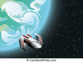space ship in orbit