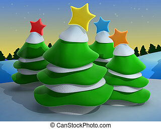 Christmas Scenery - Computer Generated Image - Christmas...