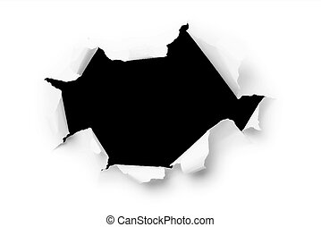 Computer Generated Image of a Large Hole Torn through paper....