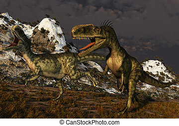 Monolophosaurus Dinosaur - Computer Generated Image Of A...