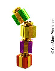 computer generated image of a pile of colorful presentes siolated on white background