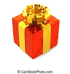 computer generated image of a red present with gold ribbon isolated on white background