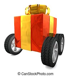 computer generated image of a red present with wheels and  a gold ribbon isolated on white background