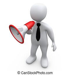 Person With Megaphone - Computer Generated Image - Person ...