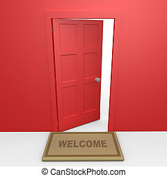 Red Door - Computer Generated Image - Red Door .