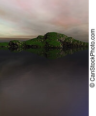 Computer generated Landscape with water, sky and mountains