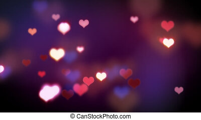 computer generated loopable motion romatic motion background. shining heart shapes loopable love background