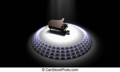 Majestic piano performance stage spotlights.