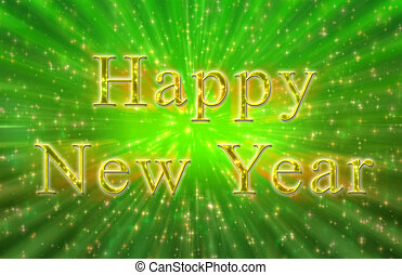 Computer generated New year sparkly sign green and gold colors