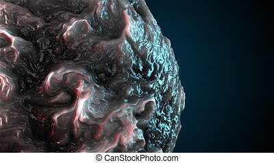 Computer generated oil sphere with curly shape. 3d render of abstract backdrop with smoke texture