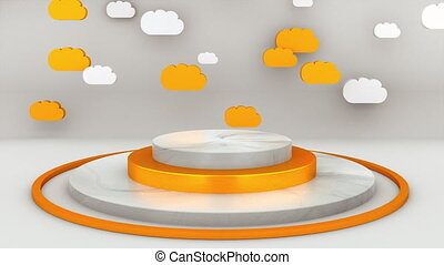 Computer generated pedestal with many colorful clouds for leadership, glory or party. 3d rendering of cartoon studio backdrop