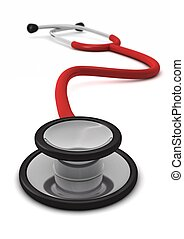 computer generated red stethoscope isolated on white background with defocus effect