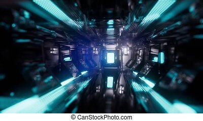Computer generated ride in a spaceship tunnel
