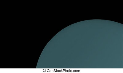 Computer generated rotation of the planet Uranus in cosmic...