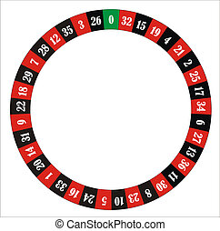 computer generated roulette wheel with numbers and colours
