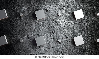 Computer generated rows of large and small cubes on a gray grunge backdrop, 3d rendering
