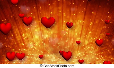 heart shapes and golden particles