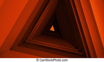 Computer generated triangle tunnel. Space of the future. 3d rendering abstract background. Inside a rotating triangular corridor