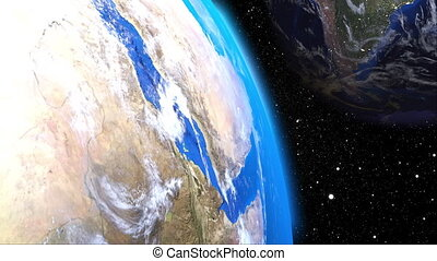 Computer generation futuristic composition planet Earth in outer space. Close-up celestial bodies against the backdrop of many stars. 3D rendering elements of this image furnished by NASA