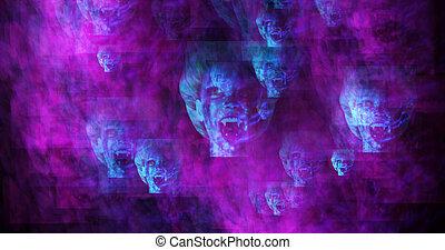 computer genereerde beeld, van, surrealistisch, vampires