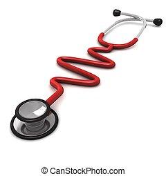 computer genereerde, rood, stethoscope, vrijstaand, op wit,...