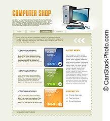 computer- geschäft, webseite, schablone