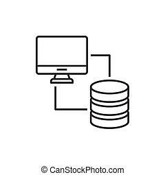 computer, gesynchroniseerd, databank
