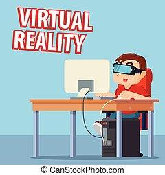 computer, gioco, virtuale, uomo