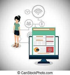 computer girl social media design