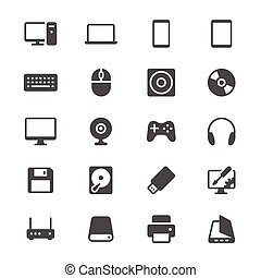 Computer glyph icons - Simple vector icons. Clear and sharp....