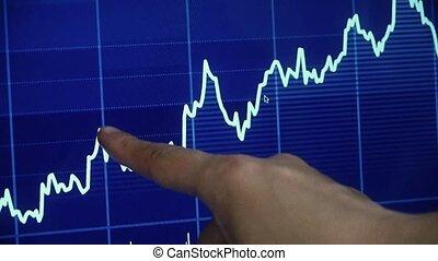 computer, grafiek, screen., aandoenlijk, vinger, zakenman, markt, liggen