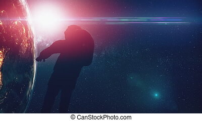 computer graph spaceman silhouette in outer space lit by...