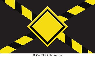 Computer graphic danger sign. Seamless loop